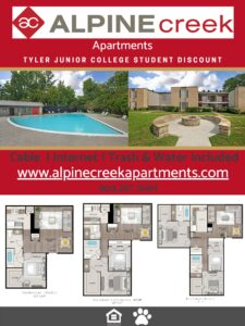 Ad for Alpine Creek apartments with varying room layouts