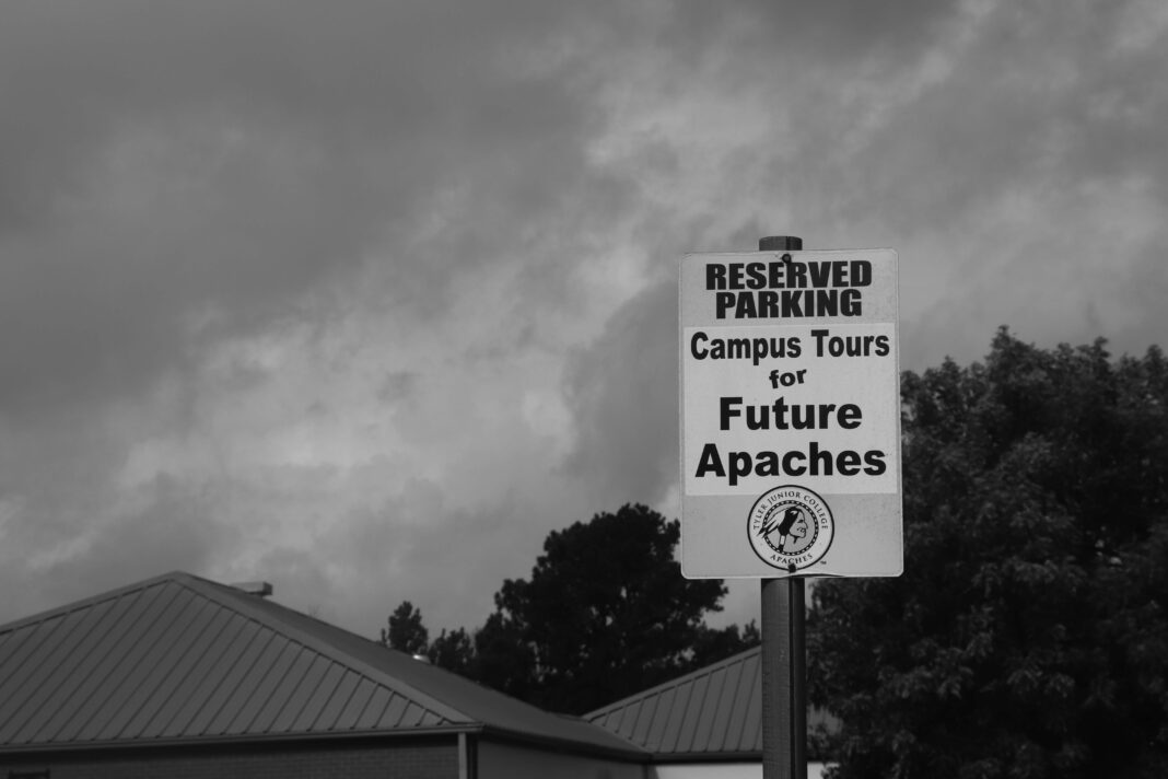 Parking sign at TJC that is for future apaches